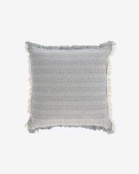 Devi 100% cotton cushion cover with beige and blue fringe 45 x 45 cm