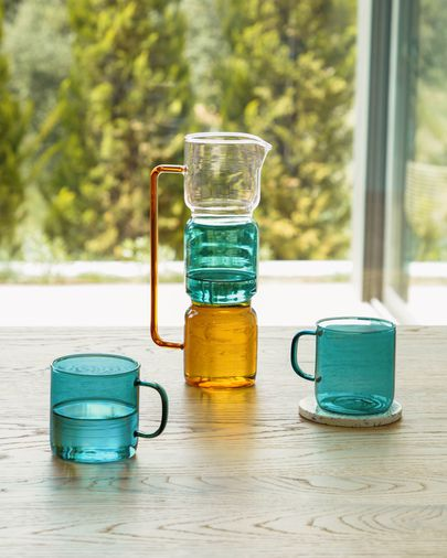 Turquoise glas mok Morely
