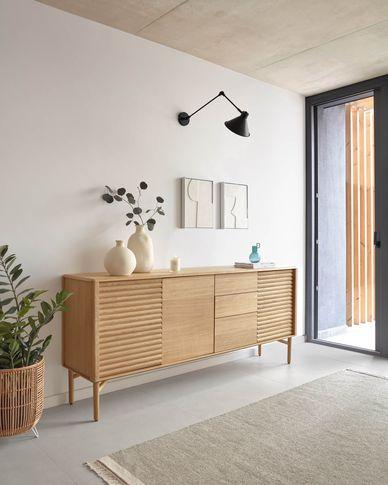 Lenon oak wood sideboard 200 x 86 cm FSC MIX Credit
