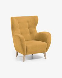 Patio armchair in mustard with solid natural oak legs