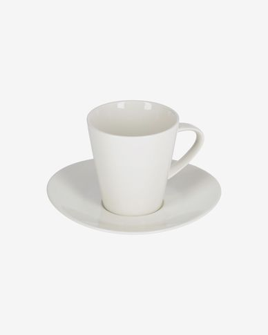 Pierina porcelain coffee cup and saucer in white