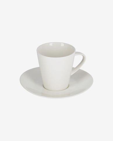 Tazza da caffè grande Pierina in porcellana bianca con piattino