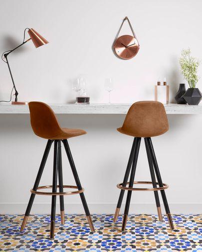 Taburete Slad marrón óxido y madera de haya con acabado negro altura 75 cm