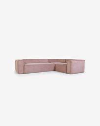Canapé d'angle Blok 4 places velours côtelé rose 320 x 230 cm