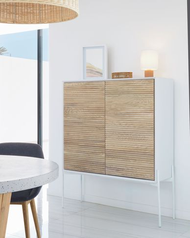 Marielle sideboard made from ash wood with white lacquer 107 x 140 cm