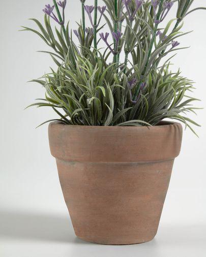 Planta artificial Lavanda con maceta de cerámica marrón 36 cm