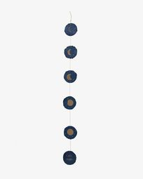 Ghirlanda Astrea fasi lunari sfondo blu