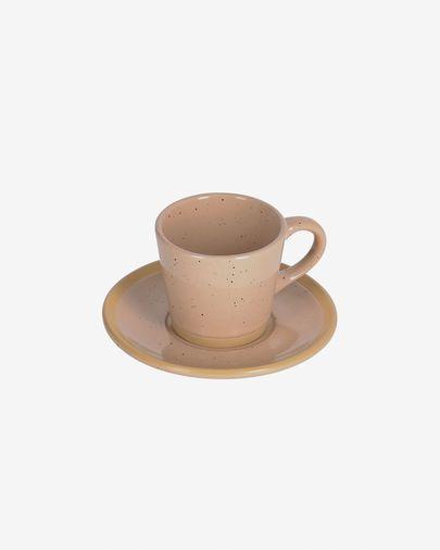 Tasse à café avec soucoupe Tilia en céramique beige