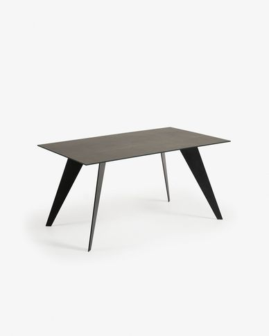 Tavolo Koda 160 cm porcellanato finitura Iron Moss gambe nero