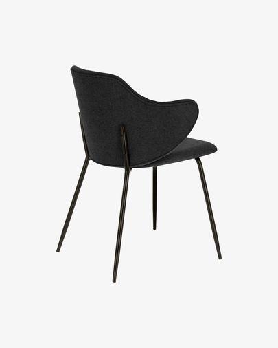 Suanne Stuhl dunkelgrau mit schwarz lackierten Stahlbeinen