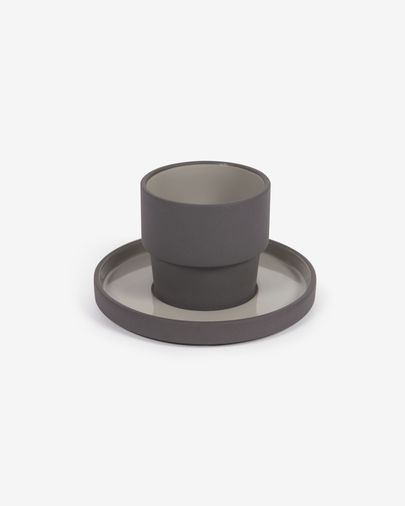 Thianela porcelain cup and saucer in grey
