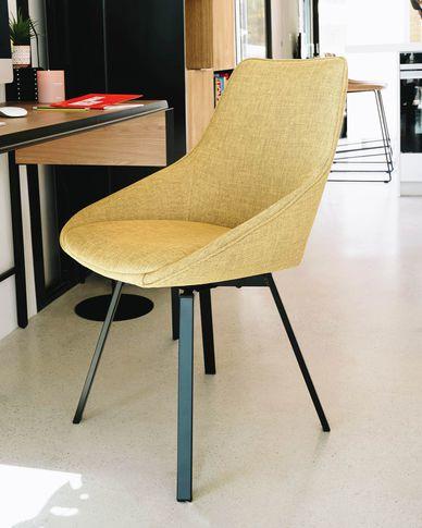 Krzesło obrotowe Jenna w kolorze musztardowym