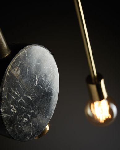 Lámpara de techo Wick de acero y mármol