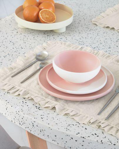 Plato de postre Sayuri de porcelana rosa y blanco