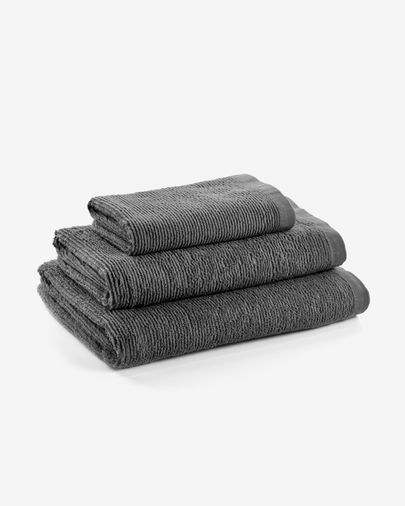 Toalha de banho Miekki grande cinza escuro