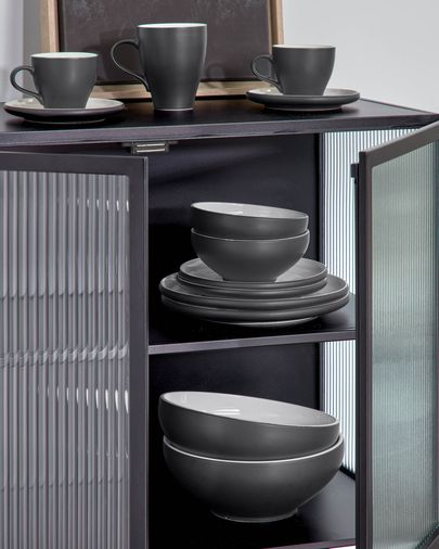 Sadashi Schale, groß, Porzellan, schwarz und weiß