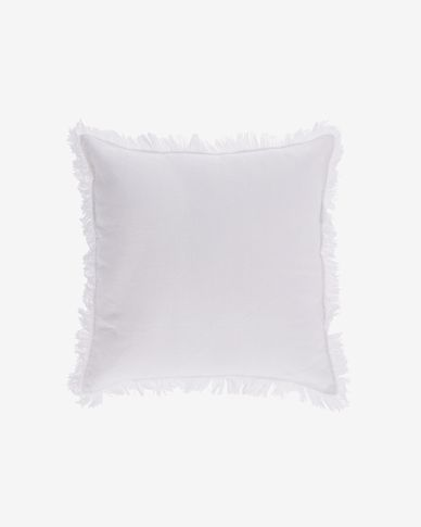 Almira white cotton and linen cushion cover with fringe 45 x 45 cm