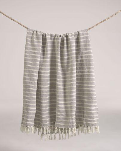 Plaid Sweeney 100% coton rayures blanc et gris 170 x 130 cm