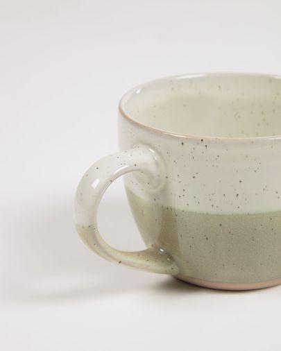 Taza Elida de cerámica beige y verde