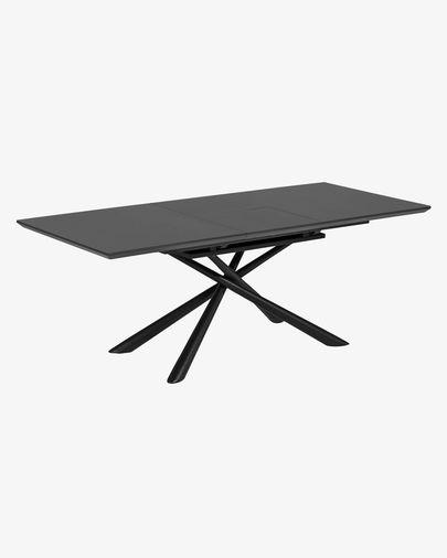 Mesa extensible Theone 160 (210) x 90 cm cristal patas de acero acabado negro