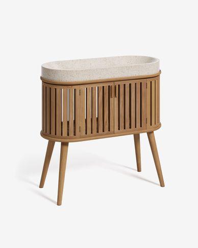 Rokia Badmöbel mit Waschtisch aus massivem Teakholz 90 x 80 cm