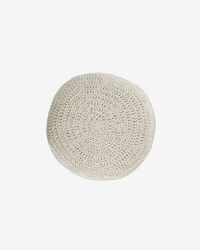 Cojín redondo Fara de algodón blanco Ø 40 cm