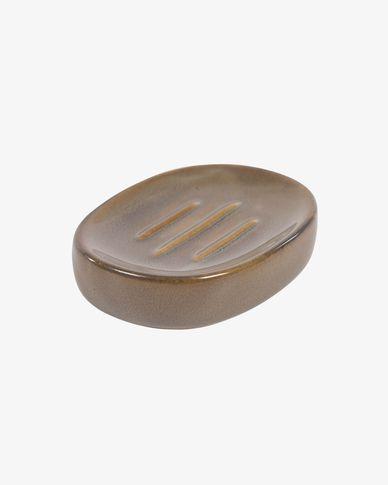 Berdolina brown ceramic soap dish