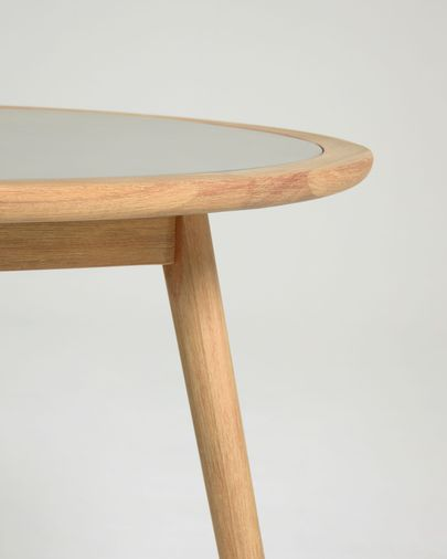 Nina round table made from poly cement and solid eucalyptus wood Ø 120 cm FSC 100%