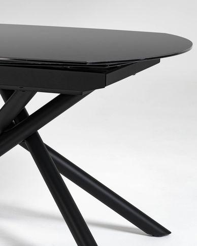 Yodalia ausziehbarer Tisch 130 (190) x 100 cm aus Glas und schwarzen Stahlbeinen