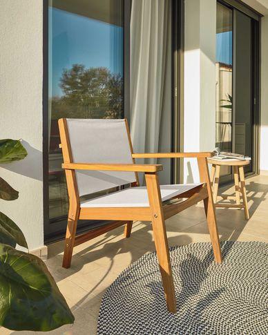 Hilda tuin fauteuil beige en massief acaciahout FSC 100%
