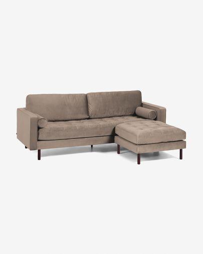 Debra 3-Sitzer Sofa mit Fußstütze taupe Samt 222 cm