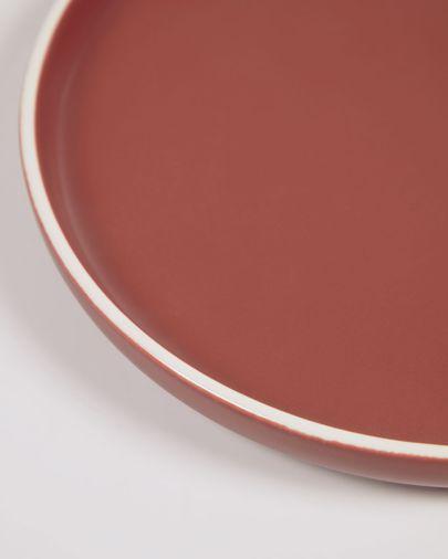 Plato plano Roperta de porcelana terracota