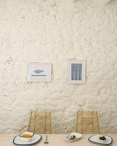 Kunstwerk Kuma met blauwe strepen 30 x 40 cm