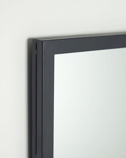 Lustro ścienne Ulrica metalowe czarne 80 x 80 cm