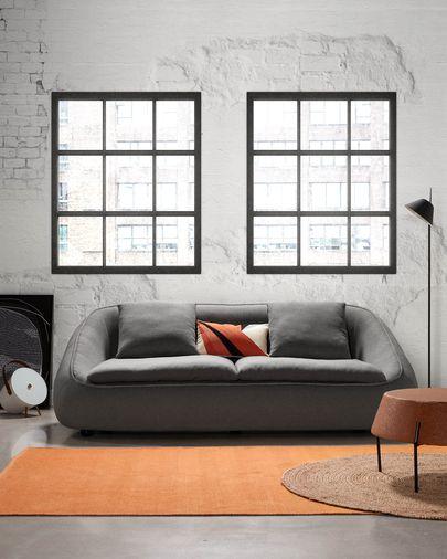 Dark grey 3-seater Safira sofa 220 cm