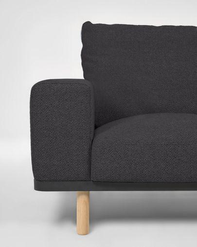 Sofá Noa de 3 plazas gris con patas acabado natural 230 cm