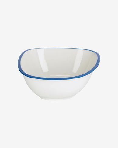 Ciotola grande Odalin in porcellana bianca e blu