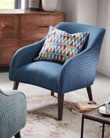 Dark blue Bobly armchair wenge finish legs