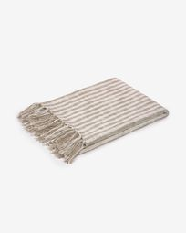 Carola 100% cotton blanket with brown and white stripes 130 x 170 cm