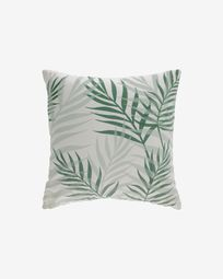 Amorela 100% cotton cushion cover with green leaves 45 x 45 cm