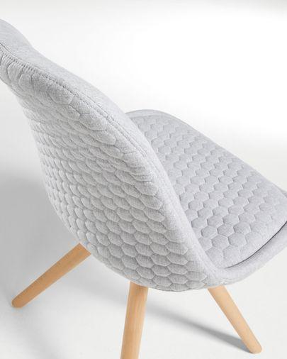 Sedia Ralf  tessuto grigio chiaro e naturale