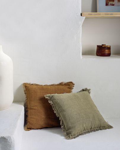 Almira Kissenbezug grün Baumwolle und Leinen mit Fransen 45 x 45 cm