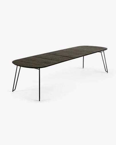 Mesa extensible Milian 170 (320) x 100 cm chapa de fresno patas de acero acabado negro