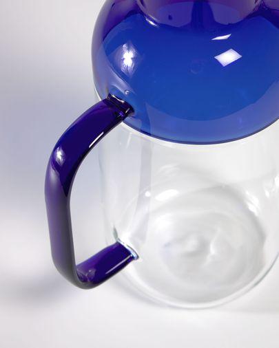 Jarra Diara vidrio transparente y azul