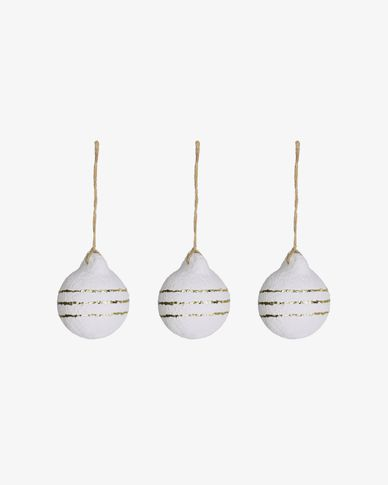 Zhoe set of 3 Christmas striped white and gold baubles