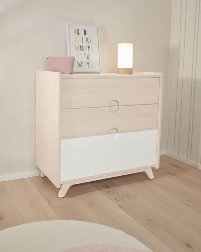 Nunila chest of drawers in ash veneer 90 x 90 cm