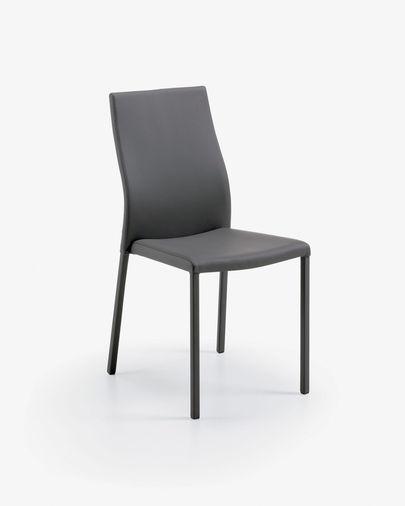 Cadira Abelle pell gris fosc