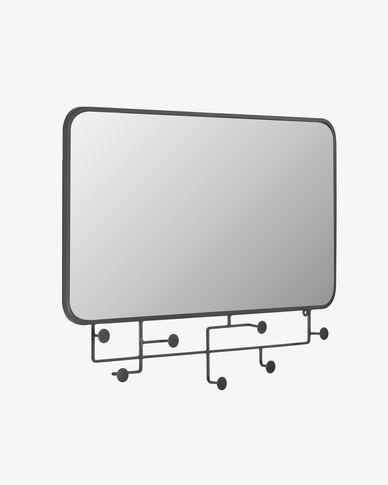 Specchio con appendini Vianela 63 x 82 cm nero