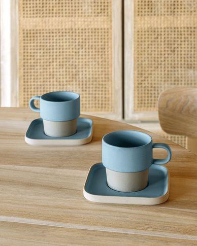 Filiżanka i spodek Midori ceramiczna niebieski