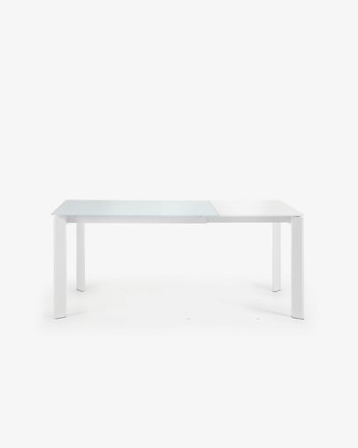 Extendable table Axis 120 (180) cm white glass white legs